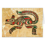 Scratched and Worn Haida Spirit Wolf Greeting Cards