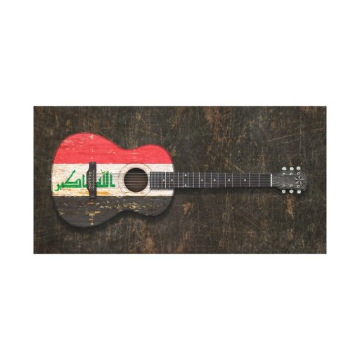 Scratched and Worn Iraqi Flag Acoustic Guitar Gallery Wrapped Canvas