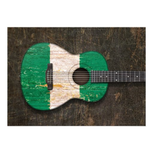 Scratched and Worn Nigerian Flag Acoustic Guitar Announcements