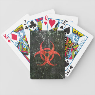 Scratched and Worn Red Biohazard Symbol Bicycle Playing Cards