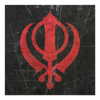 Scratched and Worn Red Sikh Khanda Symbol 13 Cm X 13 Cm Square Invitation Card