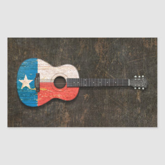 Scratched and Worn Texas Flag Acoustic Guitar Rectangle Sticker