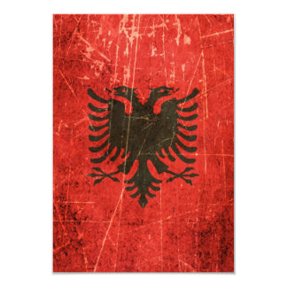 Scratched and Worn Vintage Albanian Flag Invitation