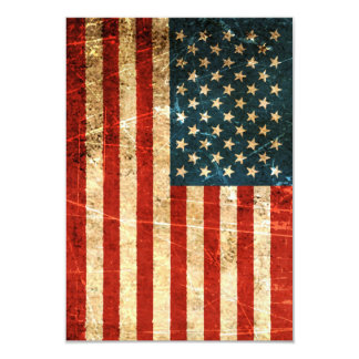 Scratched and Worn Vintage American Flag Invitation