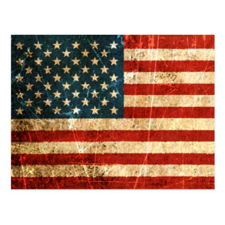 Scratched and Worn Vintage American Flag Postcard