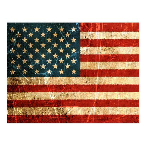 Scratched and Worn Vintage American Flag Post Card