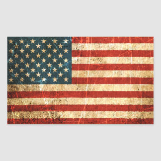 Scratched and Worn Vintage American Flag Rectangular Sticker