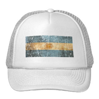 Scratched and Worn Vintage Argentinian Flag Trucker Hat