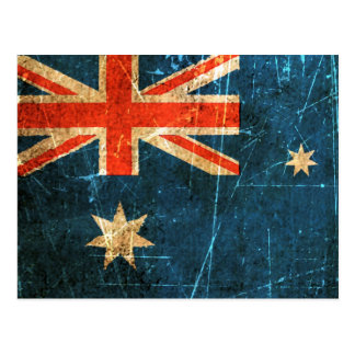 Scratched and Worn Vintage Australian Flag Postcard