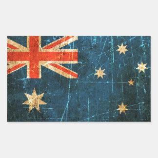 Scratched and Worn Vintage Australian Flag Rectangular Sticker