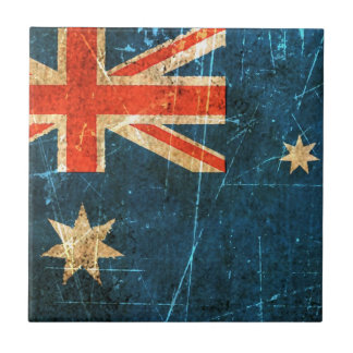 Scratched and Worn Vintage Australian Flag Tile