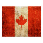 Scratched and Worn Vintage Canadian Flag Posters