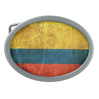 Scratched and Worn Vintage Colombian Flag Oval Belt Buckles