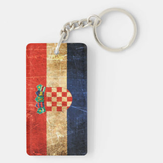 Scratched and Worn Vintage Croatian Flag Key Ring