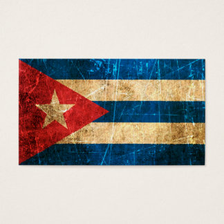 Scratched and Worn Vintage Cuban Flag Business Card