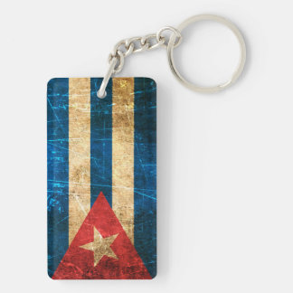 Scratched and Worn Vintage Cuban Flag Double-Sided Rectangular Acrylic Key Ring