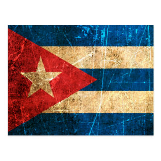 Scratched and Worn Vintage Cuban Flag Post Cards