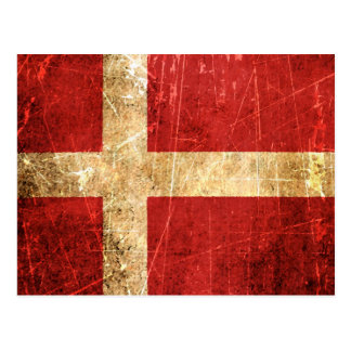 Scratched and Worn Vintage Danish Flag Postcard