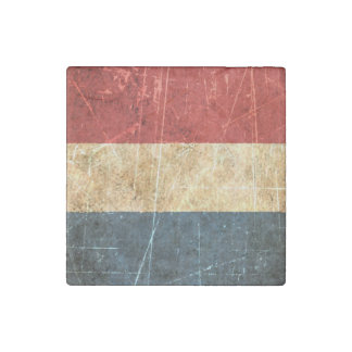 Scratched and Worn Vintage Dutch Flag Stone Magnet