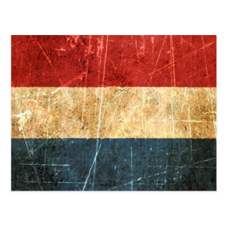 Scratched and Worn Vintage Dutch Flag Postcard