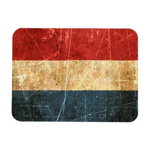 Scratched and Worn Vintage Dutch Flag Vinyl Magnets