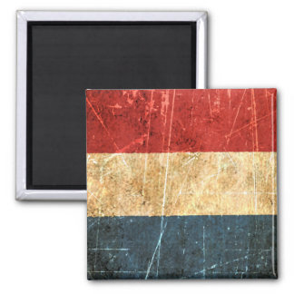 Scratched and Worn Vintage Dutch Flag Square Magnet