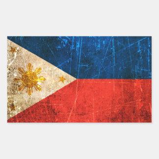 Scratched and Worn Vintage Filipino Flag Sticker