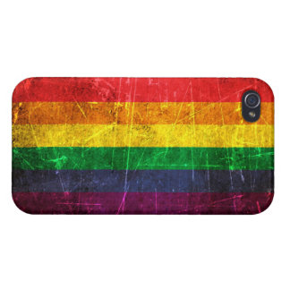 Scratched and Worn Vintage Gay Pride Rainbow Flag Covers For iPhone 4