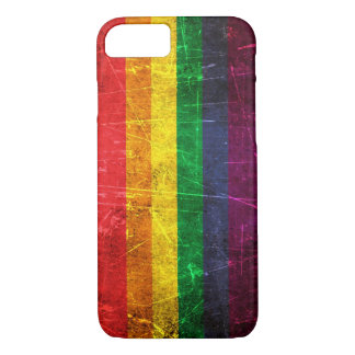 Scratched and Worn Vintage Gay Pride Rainbow Flag iPhone 7 Case