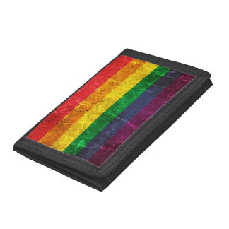 Scratched and Worn Vintage Gay Pride Rainbow Flag Tri-fold Wallets