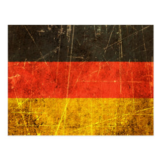 Scratched and Worn Vintage German Flag Postcard