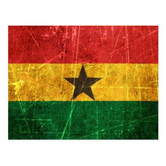 Scratched and Worn Vintage Ghana Flag Postcard