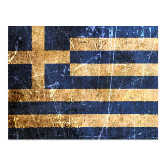 Scratched and Worn Vintage Greek Flag Postcard