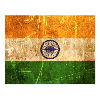 Scratched and Worn Vintage Indian Flag Postcard