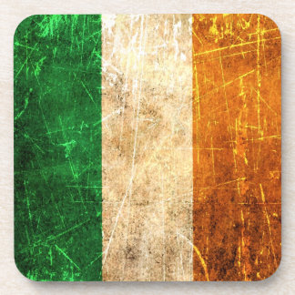 Scratched and Worn Vintage Irish Flag Coasters