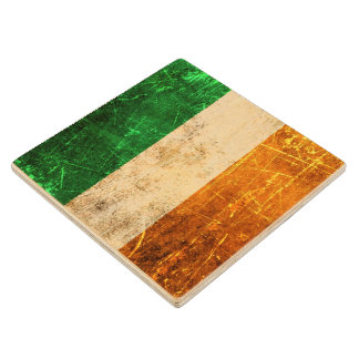 Scratched and Worn Vintage Irish Flag Wood Coaster