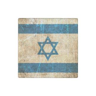 Scratched and Worn Vintage Israeli Flag Stone Magnet