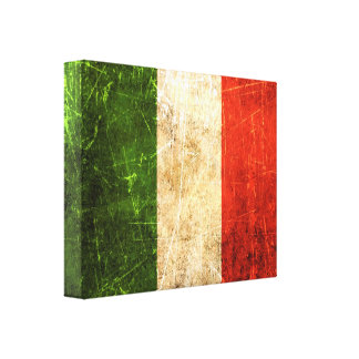 Scratched and Worn Vintage Italian Flag Canvas Print