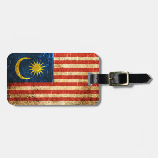 Scratched and Worn Vintage Malaysian Flag Luggage Tag