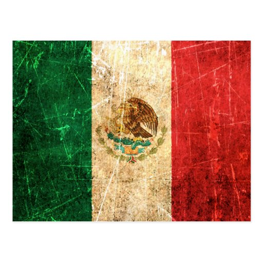 Scratched and Worn Vintage Mexican Flag Postcards