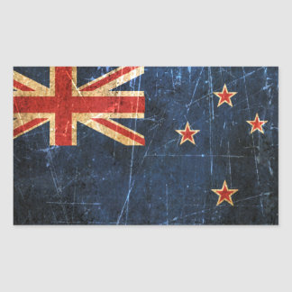 Scratched and Worn Vintage New Zealand Flag Rectangular Sticker