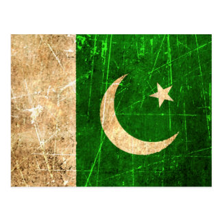 Scratched and Worn Vintage Pakistani Flag Postcard