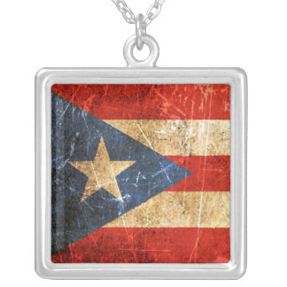 Scratched and Worn Vintage Puerto Rican Flag Silver Plated Necklace