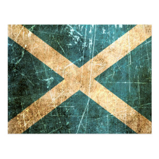 Scratched and Worn Vintage Scottish Flag Postcard