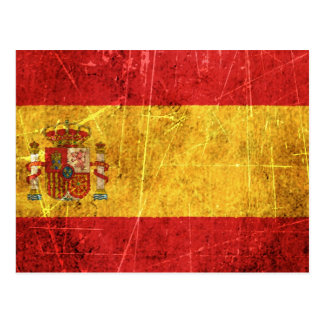 Scratched and Worn Vintage Spanish Flag Postcard