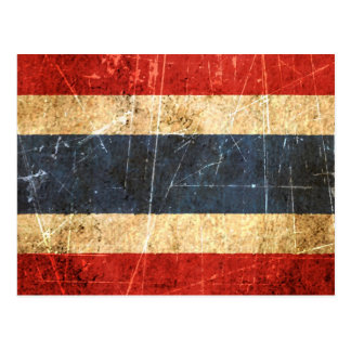 Scratched and Worn Vintage Thai Flag Postcard