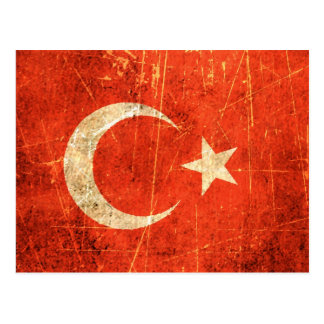 Scratched and Worn Vintage Turkish Flag Postcard