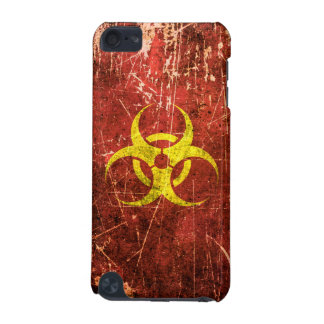Scratched and Worn Yellow and Red Biohazard Symbol iPod Touch 5G Covers