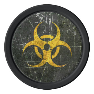 Scratched and Worn Yellow Biohazard Symbol Poker Chips