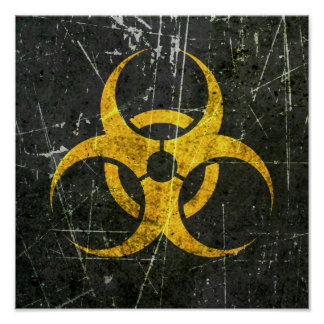 Scratched and Worn Yellow Biohazard Symbol Posters